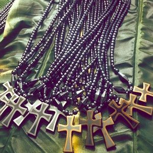 Hematite Cross Necklace w-Trim